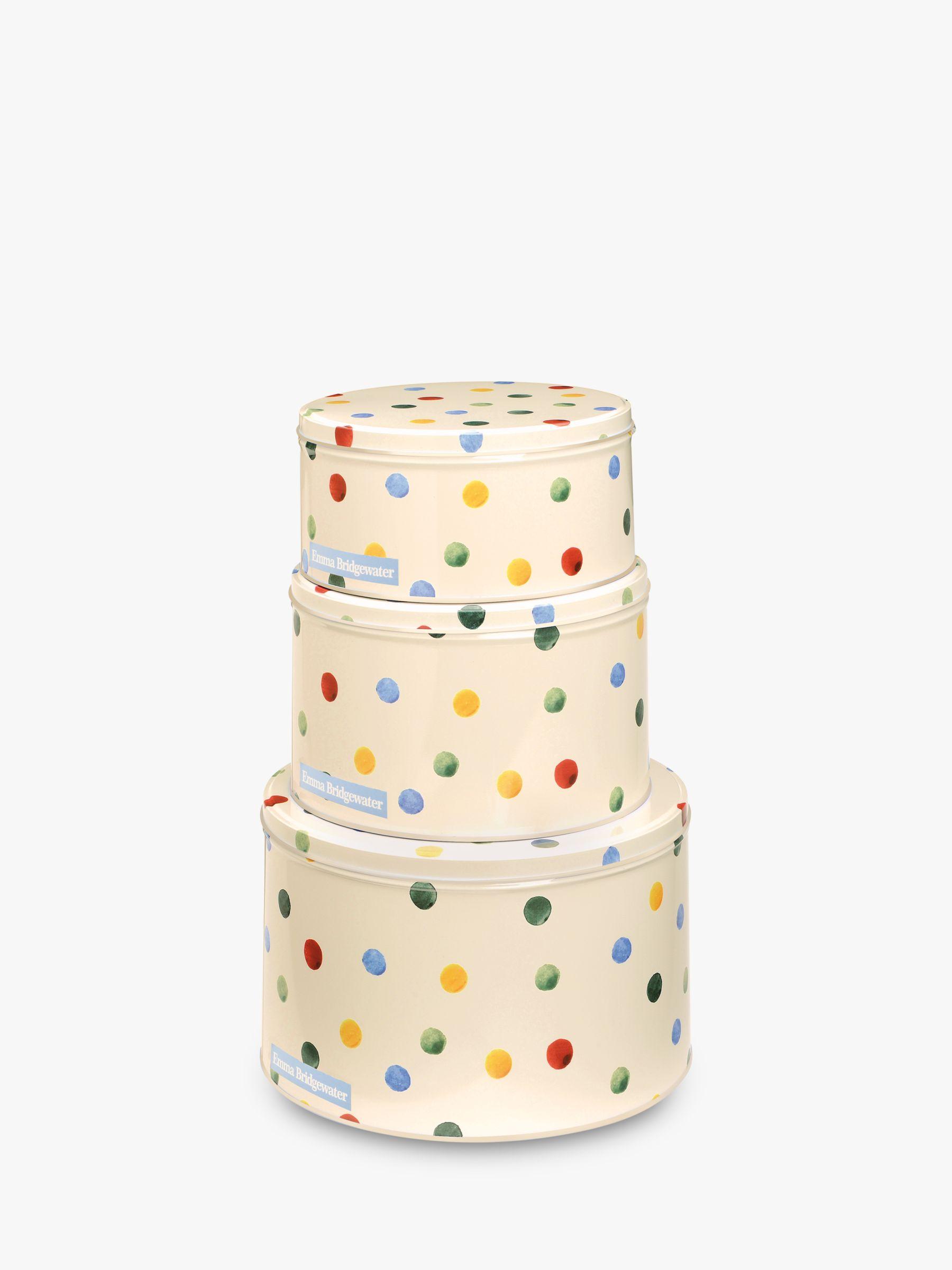 Emma Bridgewater Polka Dot Nesting Cake Tins, Set of 3, Cream/Multi