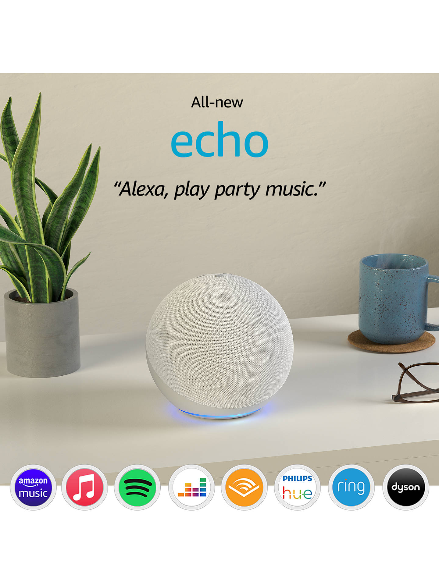 Buy Amazon Echo Smart Speaker & Home Hub with Premium Sound & Alexa Voice Recognition & Control, 4th Generation, Glacier White Online at johnlewis.com