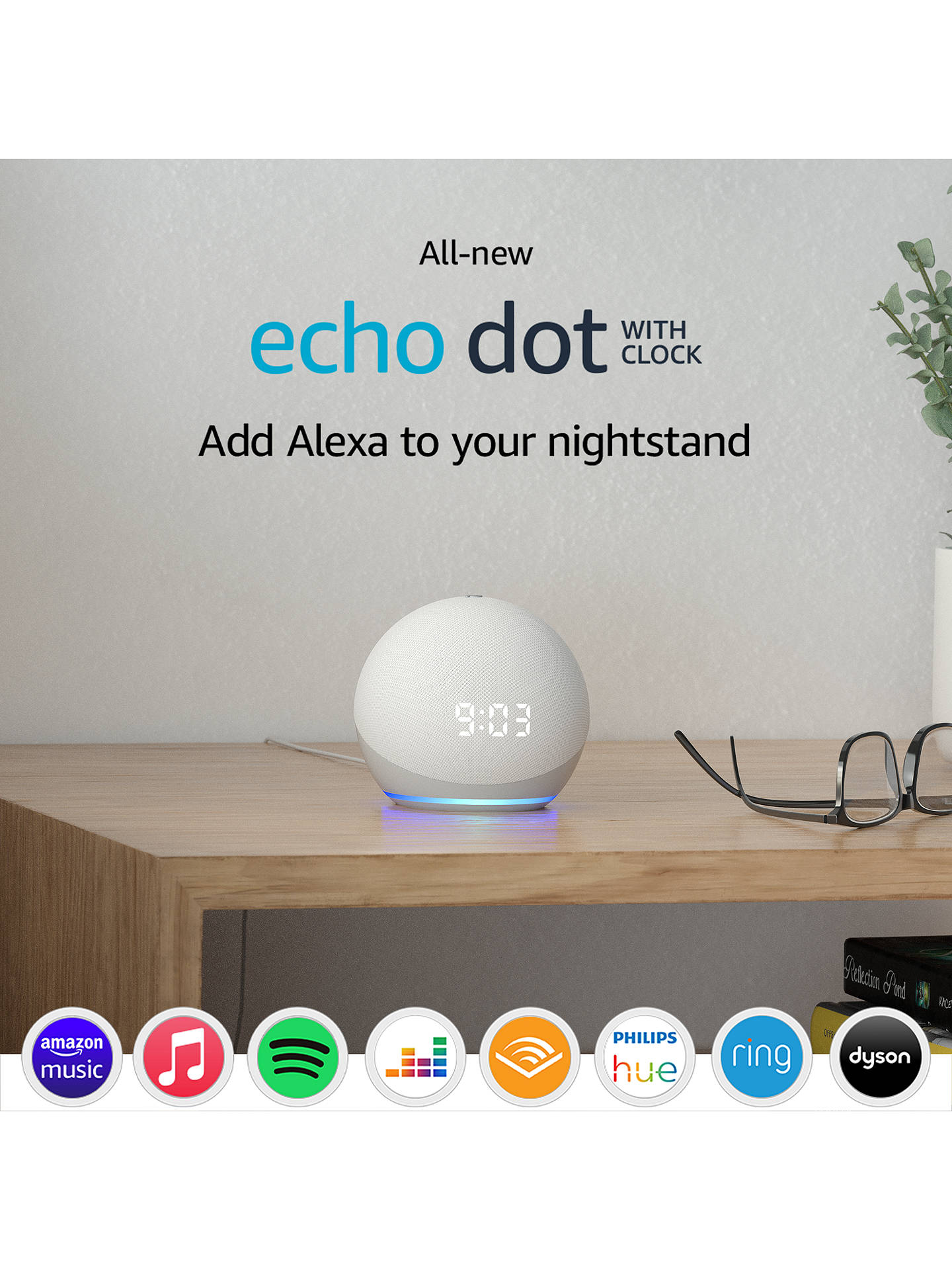 Buy Amazon Echo Dot Smart Speaker with Clock and Alexa Voice Recognition & Control, 4th Generation, Glacier White Online at johnlewis.com