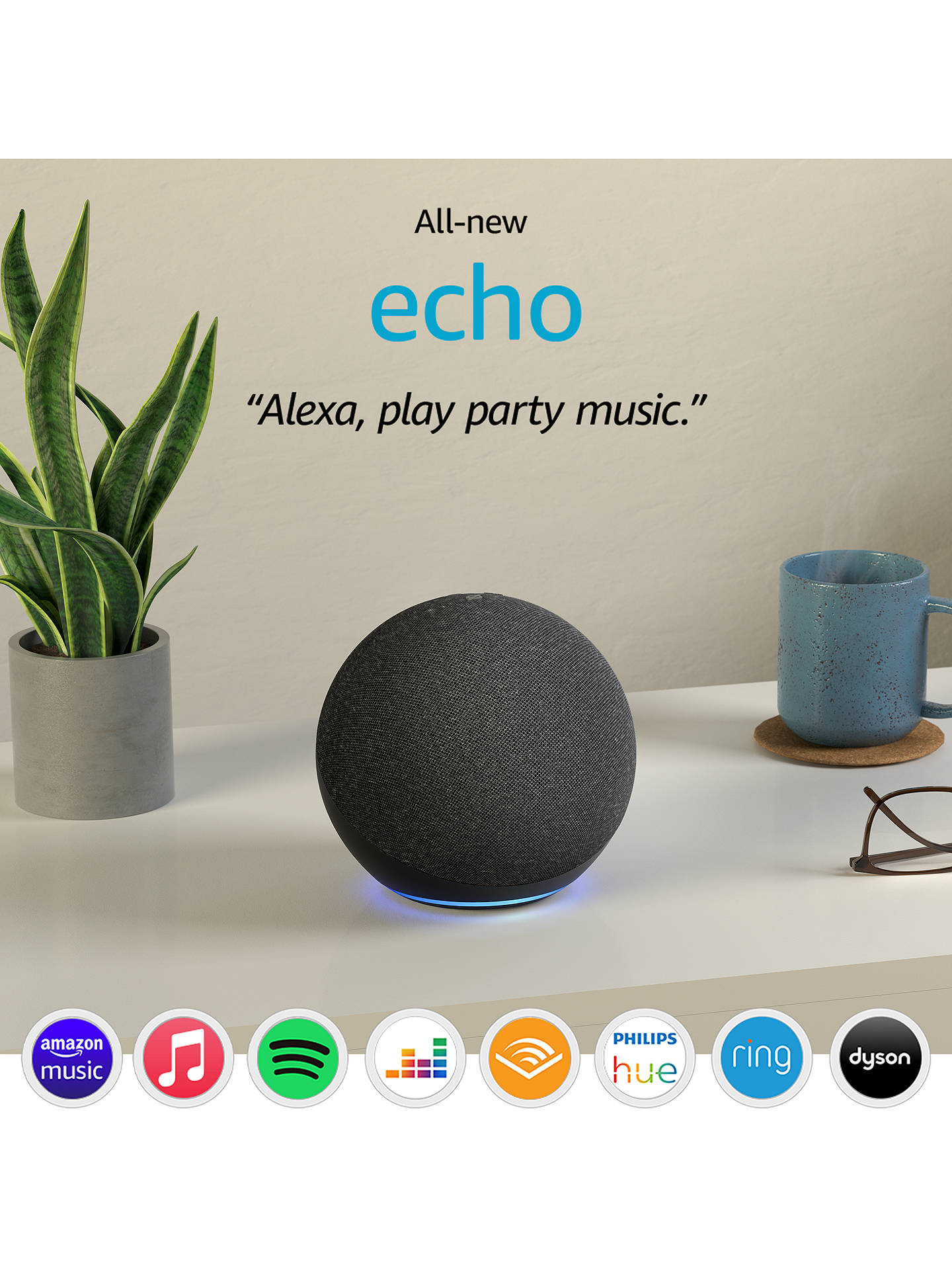 Buy Amazon Echo Smart Speaker & Home Hub with Premium Sound & Alexa Voice Recognition & Control, 4th Generation, Charcoal Online at johnlewis.com