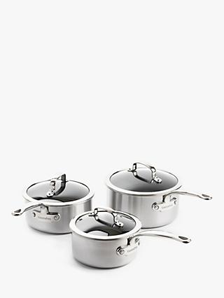 GreenPan Premiere Stainless Steel Ceramic Non-Stick Saucepan & Lid Set, 3 Piece
