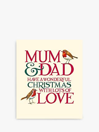 Woodmansterne Robins Mum & Dad Christmas Card
