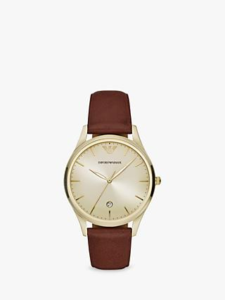 Emporio Armani AR11312 Men's Date Leather Strap Watch, Brown/Gold