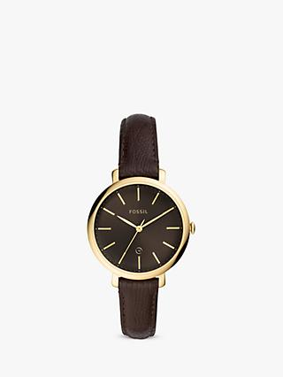 Fossil ES4969 Women's Jacqueline Date Leather Strap Watch, Brown