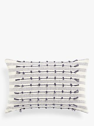 ANYDAY John Lewis & Partners Woven Stitch Detail Cushion, Blue