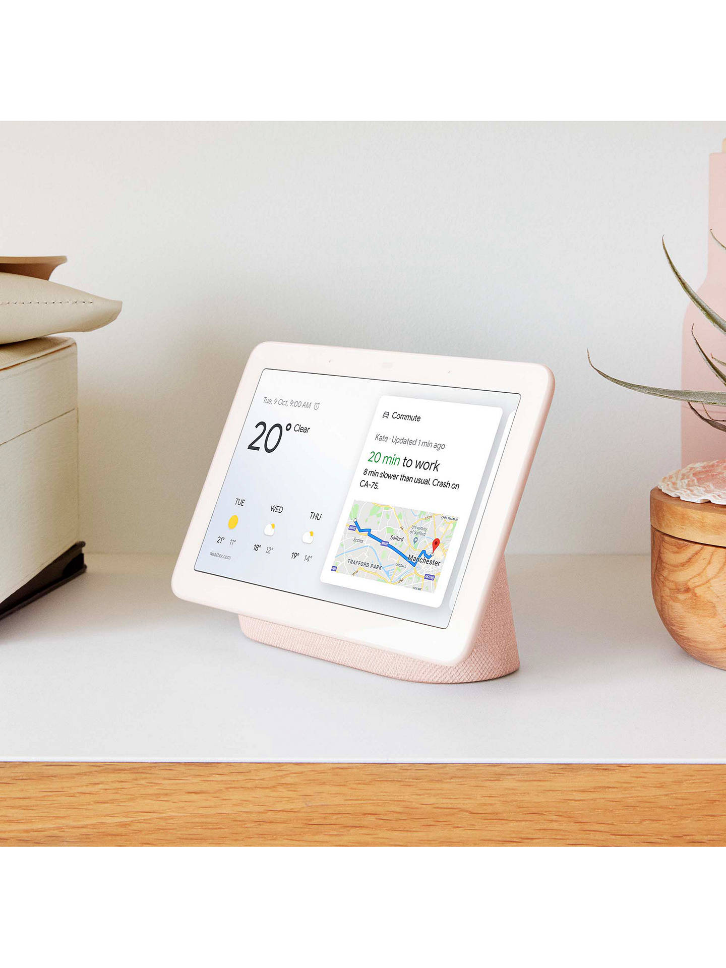 "Buy Google Nest Hub Hands-Free Smart Speaker with 7"" Screen, Sand Online at johnlewis.com"