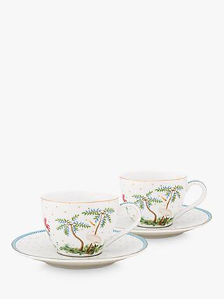 Pip Studio Jolie Espresso Cup and Saucer, Set of 2, 120ml, White/Multi