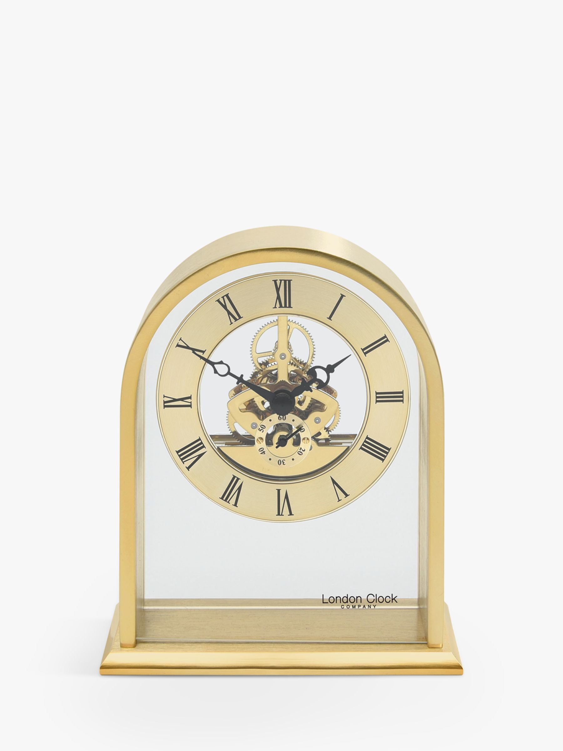 London Clock Company Arched Roman Numeral Analogue Skeleton Mantel Clock, Gold