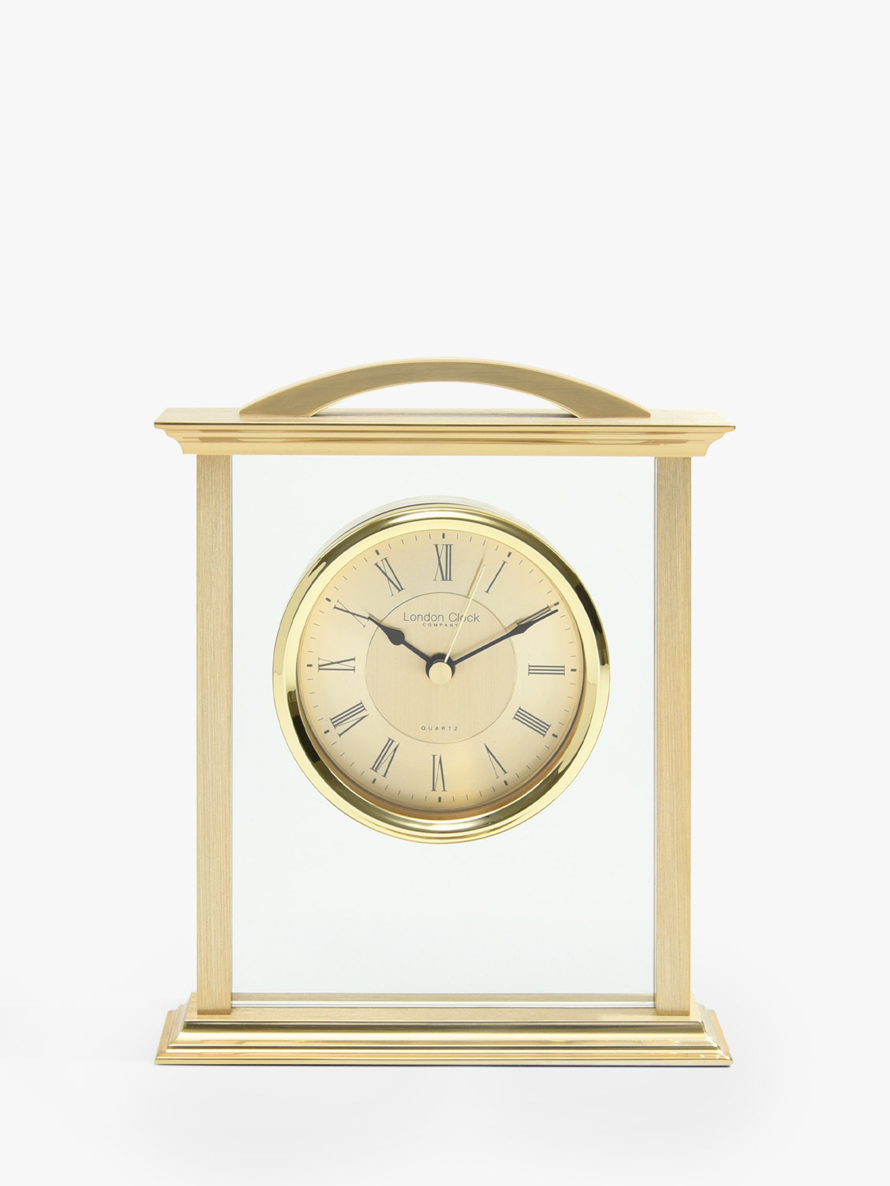 London Clock Company Roman Numeral Analogue Mantel Clock, Brass