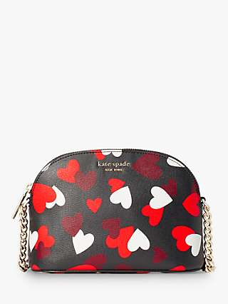 kate spade new york Hearts Small Dome Leather Cross Body Bag, Black