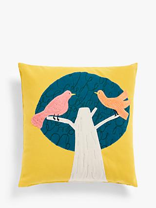 John Lewis & Partners Two Birds in a Tree Cushion, Mustard
