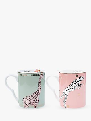 Yvonne Ellen Cheetah and Giraffe Mugs, Set of 2, 360ml, Multi