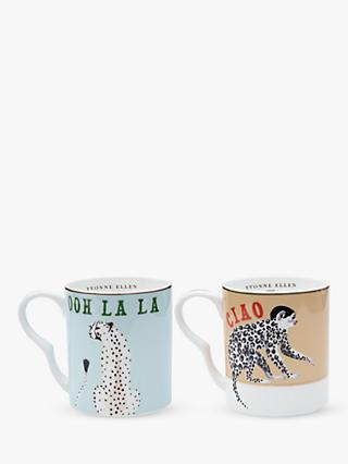 Yvonne Ellen Cheetah & Monkey Mugs, Set of 2, 240ml, Multi