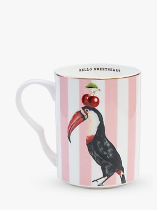 Yvonne Ellen Toucan Striped Mug, 360ml, Pink/Multi