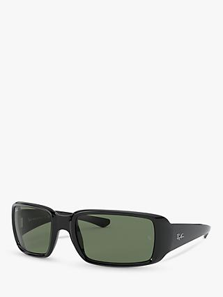 Ray-Ban RB4338 Unisex Rectangular Frame Sunglasses, Black/Green