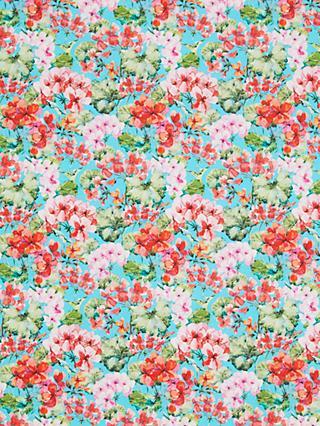 Oddies Textiles Pink Blooms Print Fabric, Turquoise