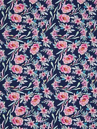 Oddies Textiles Pink Flowers and Leaves Print Fabric, Navy