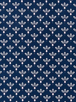 Oddies Textiles Flower Stamp Print Fabric, Navy