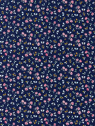 Oddies Textiles Flowers and Butterflies Print Fabric, Navy