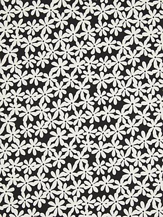 Oddies Textiles Flower Stamp Fabric, White/Black