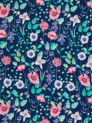 Oddies Textiles Flower Garden Print Fabric, Navy