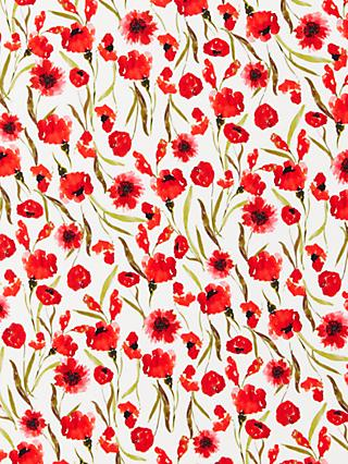 Oddies Textiles Poppy Print Fabric, White/Multi