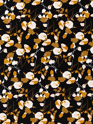 Oddies Textiles Shadow Ochre Leaves Print Fabric, Black