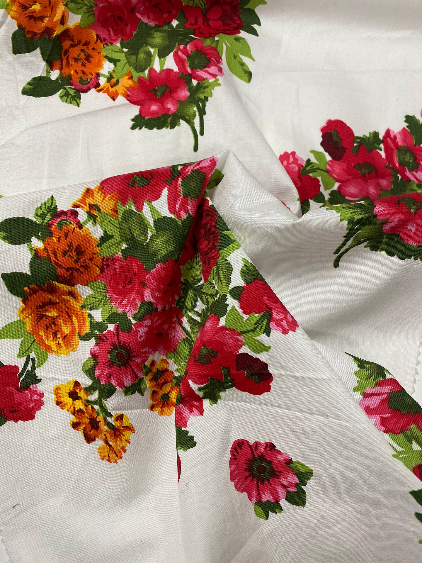 Buy Marvic Fabrics Blooms Print Fabric, Red/Orange Online at johnlewis.com