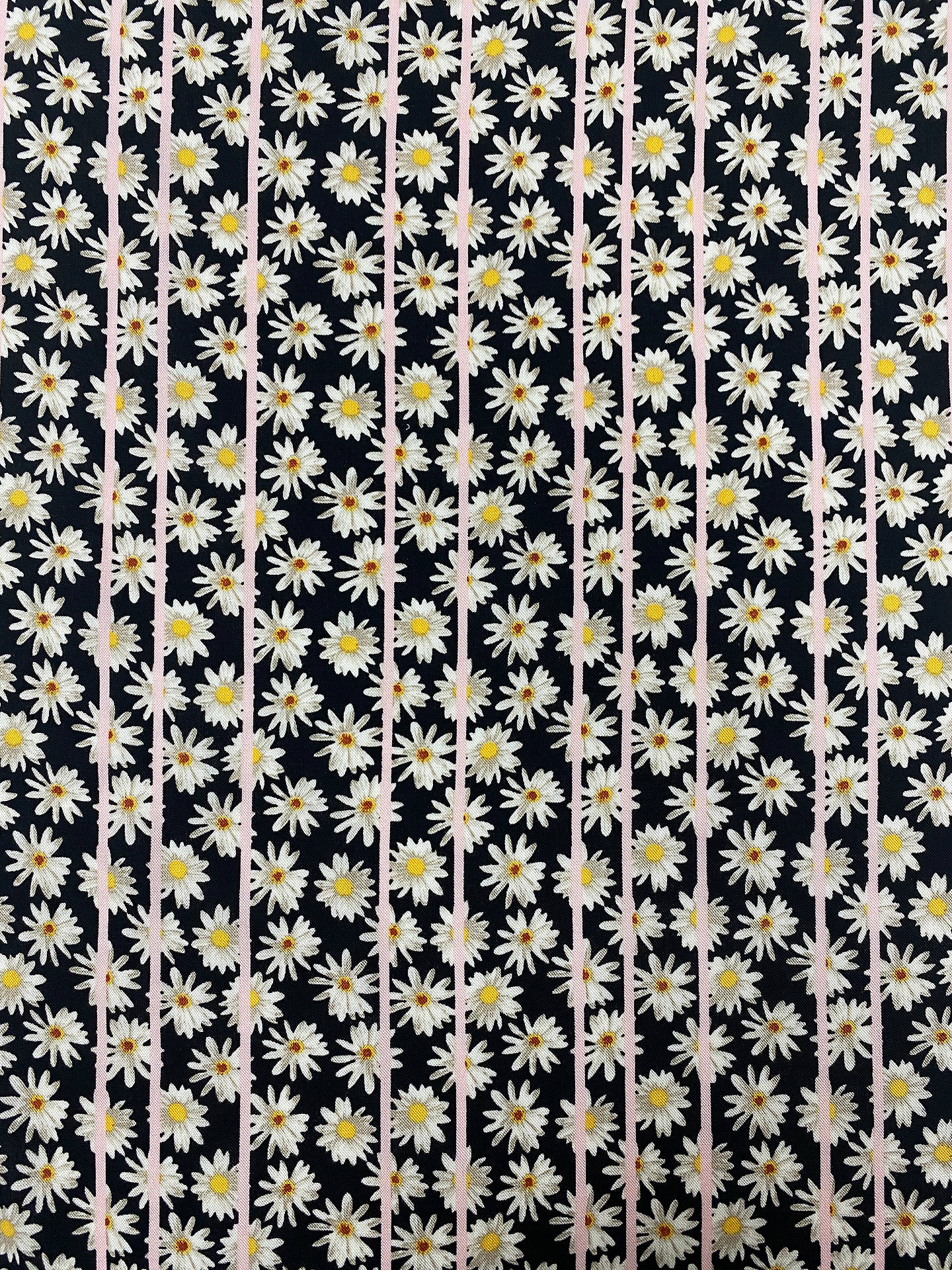 Buy Marvic Fabrics Daisy and Stripe Print Fabric, Black/Pink Online at johnlewis.com