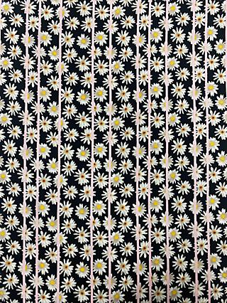 Marvic Fabrics Daisy and Stripe Print Fabric, Black/Pink