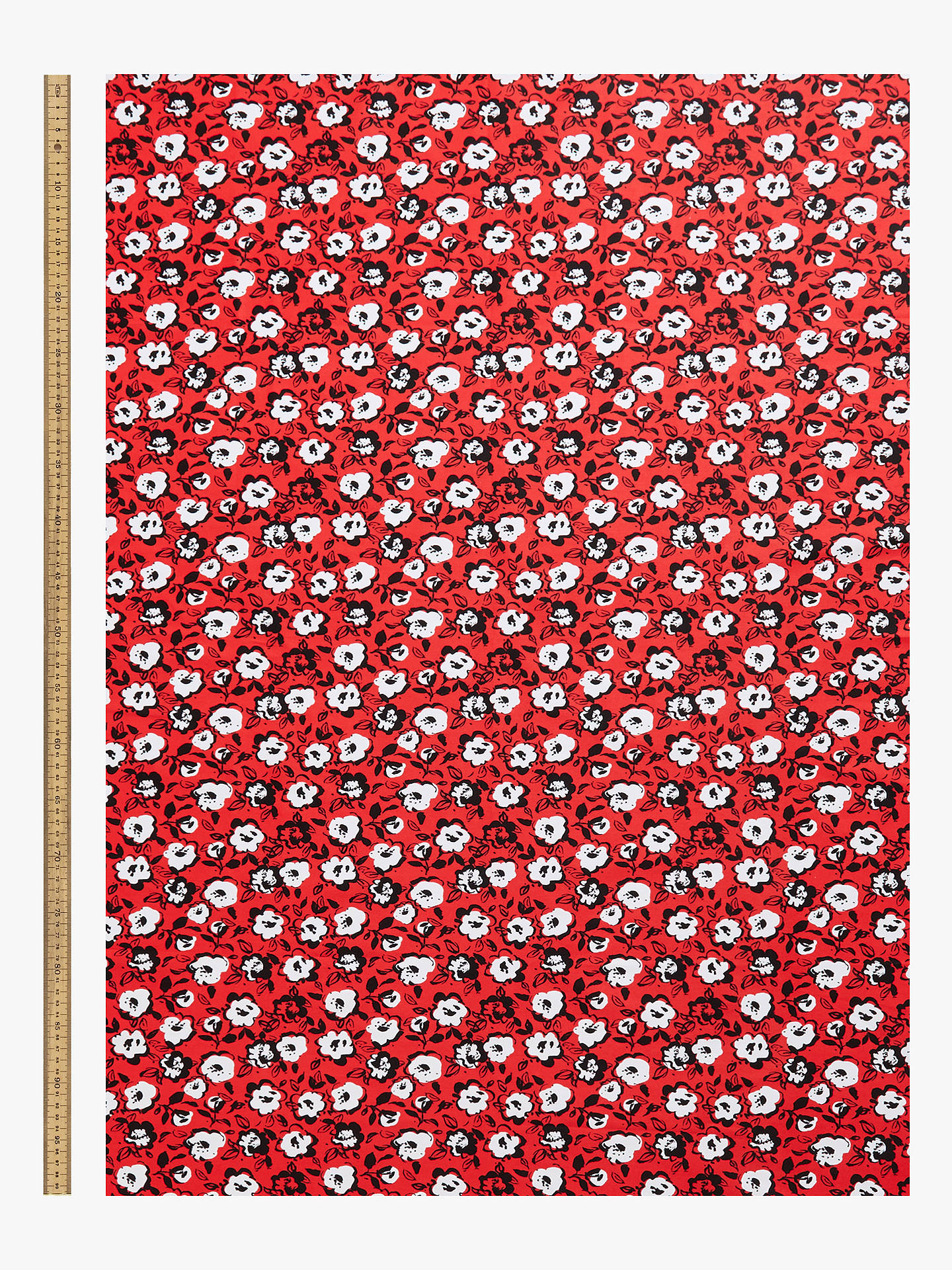 Buy Marvic Fabrics Abstract Flower Lines Print Fabric, Red Online at johnlewis.com