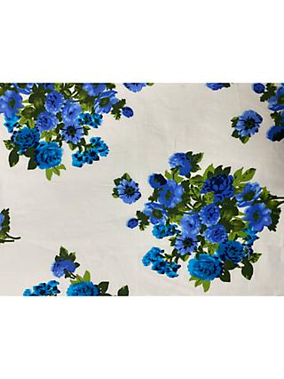 Marvic Fabrics Blue Flowers Print Fabric, White