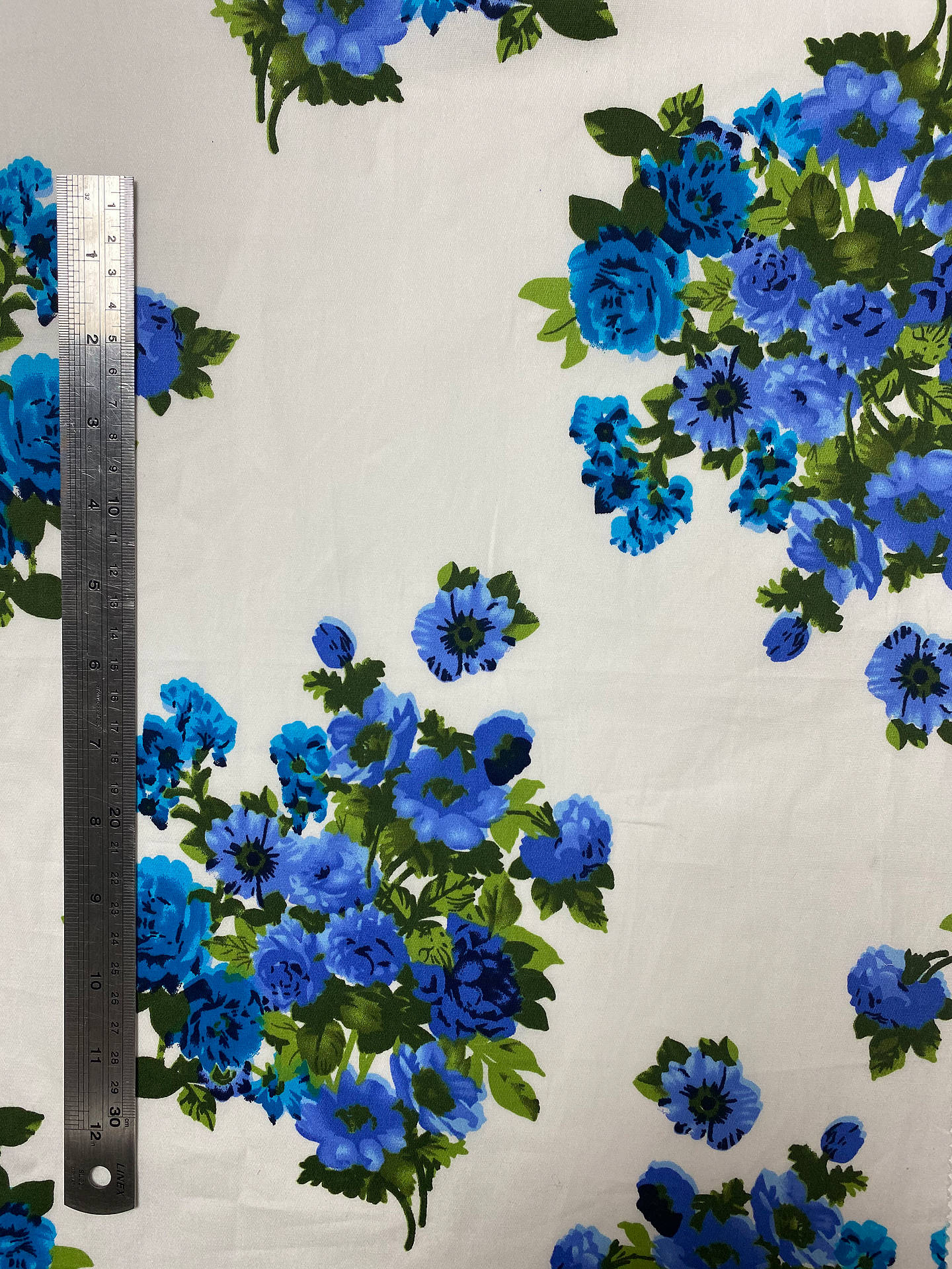 Buy Marvic Fabrics Blue Flowers Print Fabric, White Online at johnlewis.com