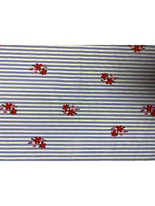 Marvic Fabrics Stripe Floral Print Fabric, Blue/Multi