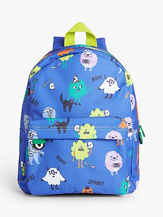 John Lewis & Partners Children's Monster Print Backpack, Blue