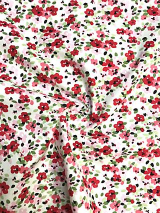 Viscount Textiles Ditsy Floral Print Fabric, Red Light