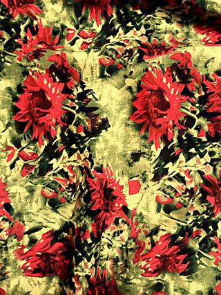 Viscount Textiles Khaki Abstract Flower Print Fabric, Green Olive