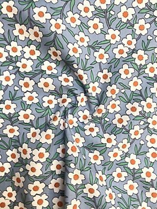 Viscount Textiles Daisy Print Fabric, Mid Blue