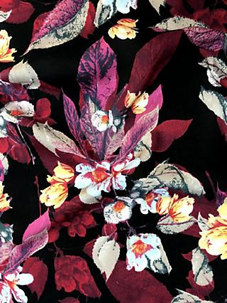 Viscount Textiles Red Floral Leaves Print Fabric, Black