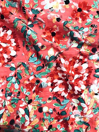 Viscount Textiles Bright Flower Print Fabric, Light Red