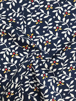 Viscount Textiles Petal Floral Print Fabric, Navy Blue