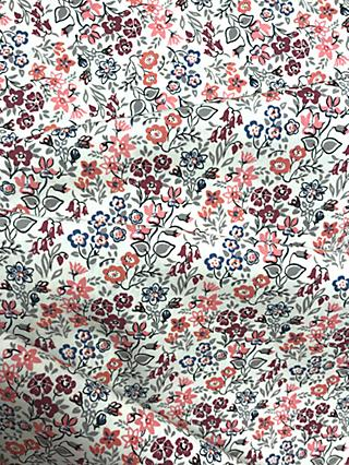 Viscount Textiles Ditsy Flower Garden Print Fabric, Red Bordeaux