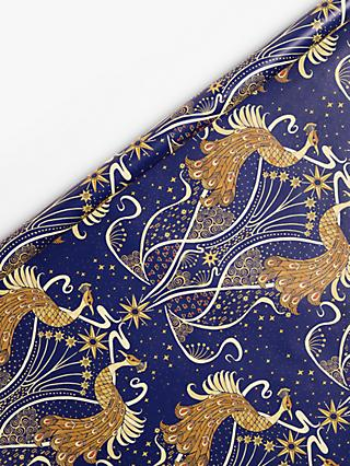 John Lewis & Partners Art Nouveau Peacocks Wrapping Paper, 2x 3m, Navy