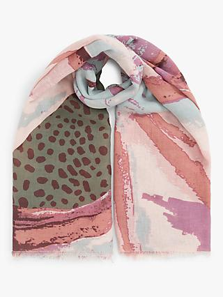 Unmade Gilla Mixed Abstract Print Scarf, Primrose Pink