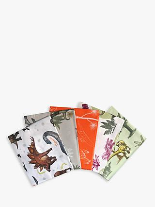 Visage Textiles Dinosaur Print Fat Quarter Fabrics, Pack of 5, Multi