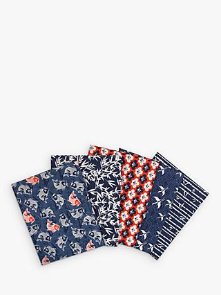 Visage Textiles Kyoto Carp Print Fat Quarter Fabrics, Pack of 5, Multi
