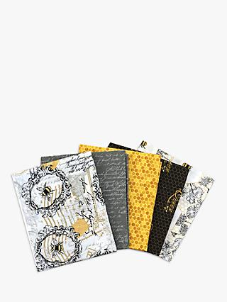 Visage Textiles Bee Happy Fat Quarter Fabrics, Pack of 5, Yellow/Multi