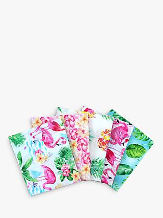 Visage Textiles Flamingo Resort Fat Quarter Fabrics, Pack of 5, Pink/Multi