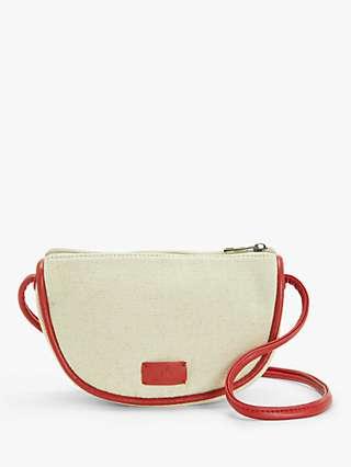 Nice Things Canvas Contrast Piping Cross Body Bag, Ecru/Orange
