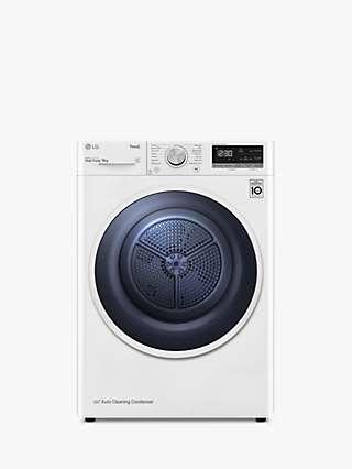 LG FDV309W Heat Pump Tumble Dryer, 9kg Load, White